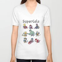 superheros V-neck T-shirts featuring SuperCats by trheewood