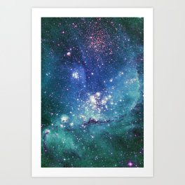 Turquoise Star Galaxy Art Print
