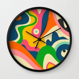 Colorful Mid Century Abstract  Wall Clock