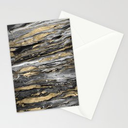 Stylish gold abstract marbleized paint Stationery Cards