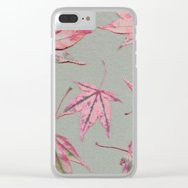 Japanese maple leaves - apricot on light khaki green Clear iPhone Case