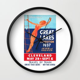 1937 Great Lakes Exposition Advertising Poster Wall Clock