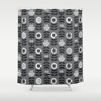 notebook Shower Curtains featuring Scandi - modern flower floral pattern scandinavia design retro mid century print monochromatic grey  by CharlotteWinter