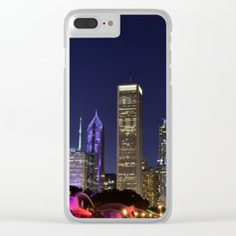 Chicago skyline and Buckingham Fountain at night. Clear iPhone Case