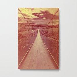 Big suspended wooden bridge. Wooden bridge with vintage burned warm tones. Metal Print