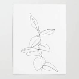 One line minimal plant leaves drawing - Berry Poster