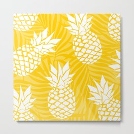 Hawaii Prints, Pineapple Summer, Yellow Art Metal Print