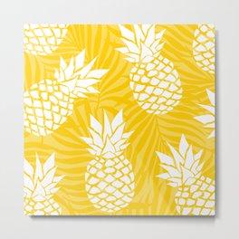 Bright Yellow, Summer, Pineapple Art Metal Print