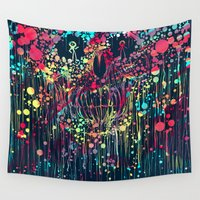 calavera Wall Tapestries featuring Party calavera by DizzyNicky