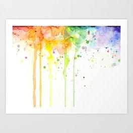 Watercolor Rainbow Splatters Abstract Texture Art Print