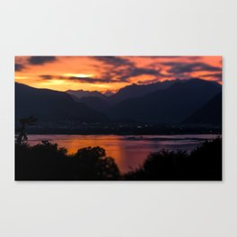 Locarno and Ascona at sunset Canvas Print
