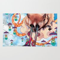 furry Area & Throw Rugs featuring Attack of the Super Furry Animals! by Mat Miller