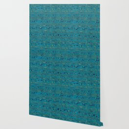 Egyptian hieroglyphs on teal leather texture Wallpaper