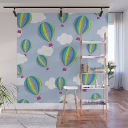 Hot air balloons and clouds - ultra violet Wall Mural