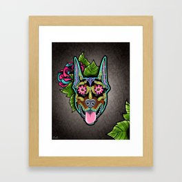Doberman with Cropped Ears - Day of the Dead Sugar Skull Dog Framed Art Print