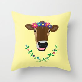 Spring Cow Throw Pillow
