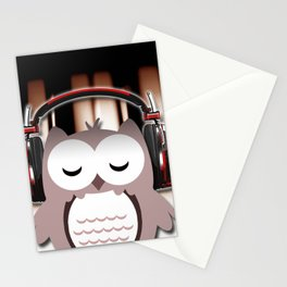 Cartoon Owl Listening to Music Piano Keys Stationery Cards