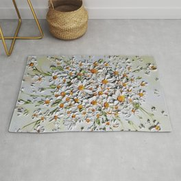 Daisy Explosion, Daisies layered on top of each other in 3d effect Rug