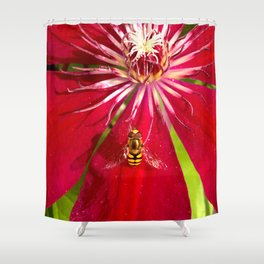 Flowers & bugs RED PASSION FLOWER & HOVERFLY Shower Curtain