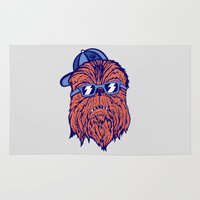 the dude Area & Throw Rugs featuring Chewie Dude by Sam Jones Illustration