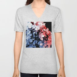 Red and blue effects on hydrangea Unisex V-Neck