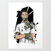 real madrid Art Prints featuring Football Legends Cristiano Ronaldo Real Madrid Robot by Akyanyme