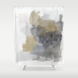 Grey Introspective in a white room Shower Curtain
