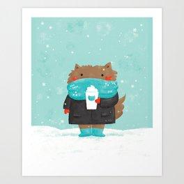 Winter Cat Art Print
