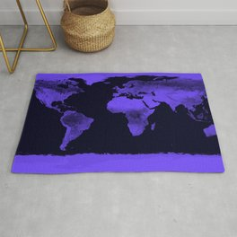 Periwinkle World Map Rug