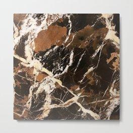 Sienna Brown and Black Marble With Creamy Veins Metal Print