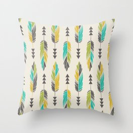 Painted Feathers in a Row-Cream Throw Pillow