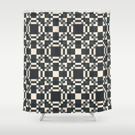 HABIT off-white black charcoal grey check pattern Shower Curtain