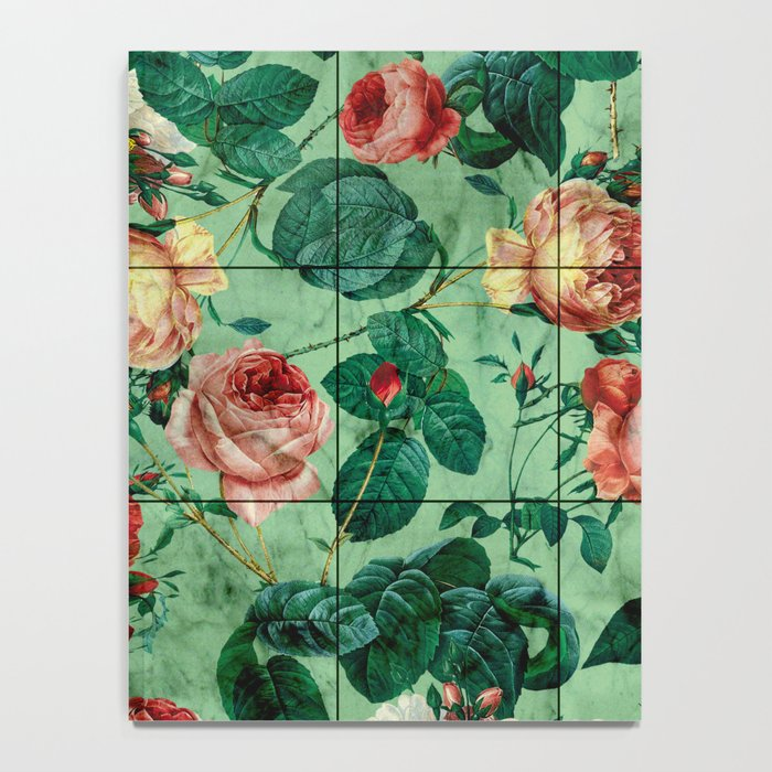 Floral and Marble Texture Notebook