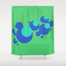 Blue bubbles on leaf green Shower Curtain