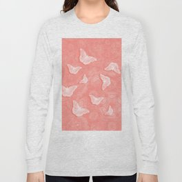 A flutter of butterflies on peach mandala patterns Long Sleeve T-shirt