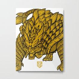 Monster Hunter - Magnamalo Black/ Yellow Metal Print