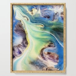 Island Abstract Watercolor Painting Serving Tray