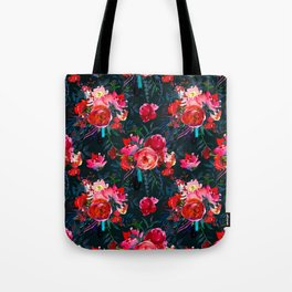 Neon pink fuchsia black watercolor modern floral Tote Bag