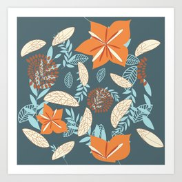 bohemian botanical plants grey blue brown orange beige autumn leaf  Art Print