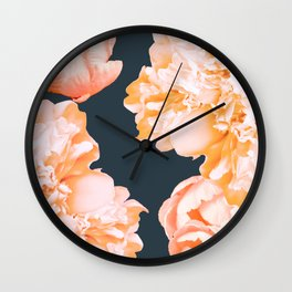 Peach Colored Flowers Dark Background #decor #society6 #buyart Wall Clock