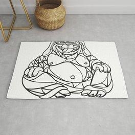 Laughing Dog Buddha Mosaic Black and White Rug
