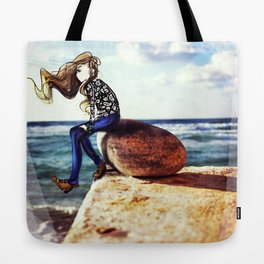 Girl on a stone Tote Bag