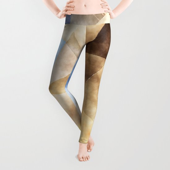 On the fields- Abstract watercolor triangle pattern Leggings