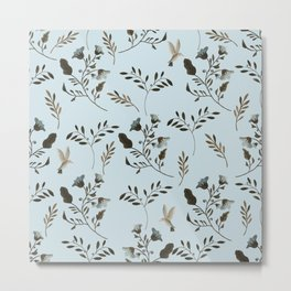 Pale Blue Bluebells and Bluebirds Floral Pattern Flowers in Blue and Bark Brown Metal Print