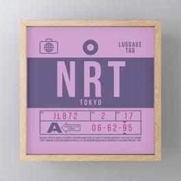 Retro Airline Luggage Tag 2.0 - NRT Tokyo Narita Airport Japan Framed Mini Art Print