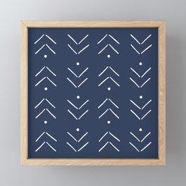 Arrow Lines Pattern in Navy Blue Framed Mini Art Print