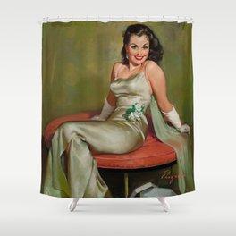 Pin Up Girl in Pretty Satin Dress Shower Curtain
