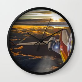 Flying at dawn Wall Clock