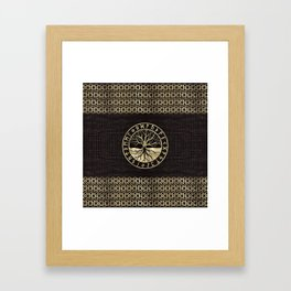 Tree of life  -Yggdrasil and  Runes on wooden texture Framed Art Print