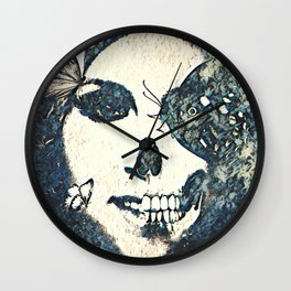 Skull and Butterflies Grey Wall Clock